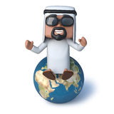 3d Arab sitting on top of the world. 3d render of an Arab sitting on a globe of the Earth Royalty Free Stock Images