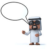 3d Arab with speech bubble. 3d render of an Arab with a speech bubble Royalty Free Stock Images