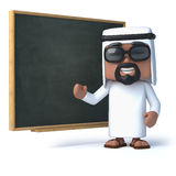 3d Arab stands at the blackboard. 3d render of an Arab standing next to a blackboard Stock Images