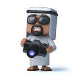 3d Arab takes a photo with his camera Stock Photo