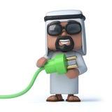 3d Arab uses green energy Royalty Free Stock Photo