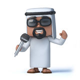 3d Arab using a microphone. 3d render of an Arab with a microphone Royalty Free Stock Photo