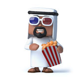 3d Arab watches a 3d movie while eating popcorn. 3d render of an Arab wearing 3d glasses and eating popcorn Stock Photography
