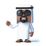 3d Arab waves a cheerful hello. 3d render of an Arab waving hello Stock Image