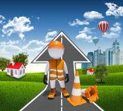 3d arbeider en verkeerskegels Stock Fotografie