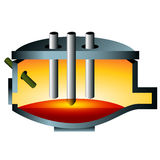 3d Arc Furnace Steel Icon stock illustration