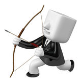 3d archer man looking upward with their bow. 3D Square Man Serie Stock Images