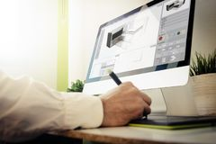 Architect designing a house. 3d architect designing a house. All screen graphics are made up Royalty Free Stock Photo