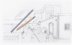 3D architect drawing residential area. Pedestrian street, city design and planning, residential area Stock Photo
