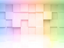 3d architecture background with colorful gradient. Abstract 3d architecture background with colorful gradient toned cubes on the wall Royalty Free Stock Photography