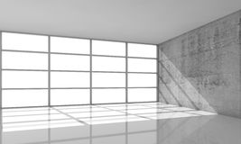 3d architecture background, empty interior with sunlight. Abstract architecture background, empty concrete interior with the sunlight going through windows in Royalty Free Stock Photo