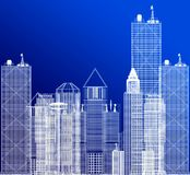 3D architecture blueprint stock illustration