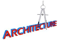 3d architecture and drawing  compass. On white background Stock Image