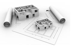3d architecture house blue print plan. Isoalted on white background Stock Images
