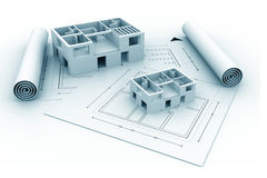 3d architecture house blue print plan. On white background Stock Photos