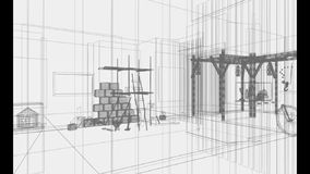 3d architecture, indoor scene Stock Photo