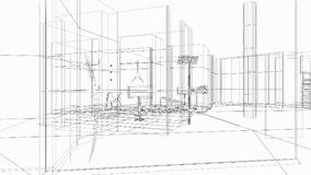 3d architecture, indoor scene,light effects Royalty Free Stock Image