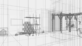 3d architecture, indoor scene,light effects Royalty Free Stock Images