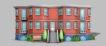3D Architecture model house. Cartoon building in front on grey backround Stock Image