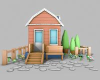 3D Architecture model house. Cartoon building in front on grey backround Royalty Free Stock Photo