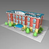 3D Architecture model house. Cartoon building in perspective on grey backround Royalty Free Stock Image