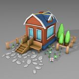 3D Architecture model house. Cartoon building in perspective on grey backround Stock Photo