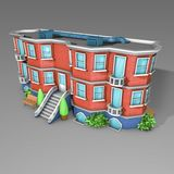 3D Architecture model house. Cartoon building in perspective on grey backround Royalty Free Stock Photos