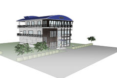 3D architecture office building. Sketch drawing 3D building office. Front view Royalty Free Stock Image