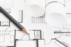 3d architektów plany odpłacają się rolki Zdjęcie Stock