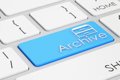 3D archive blue keyboard button Royalty Free Stock Photography