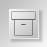 3D archive icon Business Concept. 3D Symbol Gray Square archive icon Business Concept Royalty Free Stock Photography