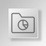 3D archive pie chart icon Business Concept. 3D Symbol Gray Square archive pie chart icon Business Concept Royalty Free Stock Image
