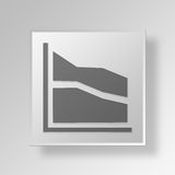 3D Area Chart icon Business Concept. 3D Symbol Gray Square Area Chart icon Business Concept Stock Images