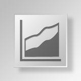 3D Area Chart icon Business Concept. 3D Symbol Gray Square Area Chart icon Business Concept Royalty Free Stock Photo