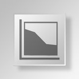3D Area Chart icon Business Concept. 3D Symbol Gray Square Area Chart icon Business Concept Royalty Free Stock Images