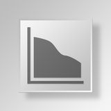 3D Area Chart icon Business Concept. 3D Symbol Gray Square Area Chart icon Business Concept Stock Photography
