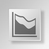 3D Area Chart icon Business Concept. 3D Symbol Gray Square Area Chart icon Business Concept Royalty Free Stock Photos