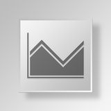3D area graph icon Business Concept. 3D Symbol Gray Square area graph icon Business Concept Royalty Free Stock Photography