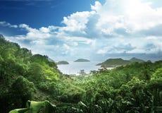 d'Argent海滩的来源, la Digue海岛 免版税图库摄影