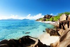 d'Argent海滩的来源, la Digue海岛 免版税库存图片