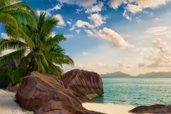D'argent νησί Σεϋχέλλες Λα παραλιών πηγής Anse digue Στοκ φωτογραφία με δικαίωμα ελεύθερης χρήσης