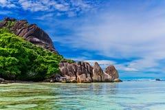 D'argent Anse källa, LaDigue ö Seychellerna Royaltyfri Bild