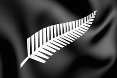 3D argento Fern Flag, Nuova Zelanda Illustrazione di Stock
