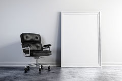 3d armchair and blank white frame Royalty Free Stock Image