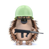 3d Armed hedgehog. 3d render of a hedgehog soldier Royalty Free Stock Photo