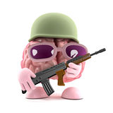 3d Army brain. 3d render of a brain dressed as a soldier with a gun Royalty Free Stock Photos