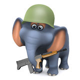 3d Army elephant. 3d render of an elephant who joined the army Royalty Free Stock Photo