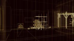 3d arquitectura, escena interior stock de ilustración