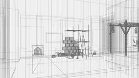 3d arquitectura, escena interior, efectos luminosos ilustración del vector