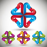 3d arrow abstract icon. 3d arrow abstract 3d icon, vector set Royalty Free Stock Images